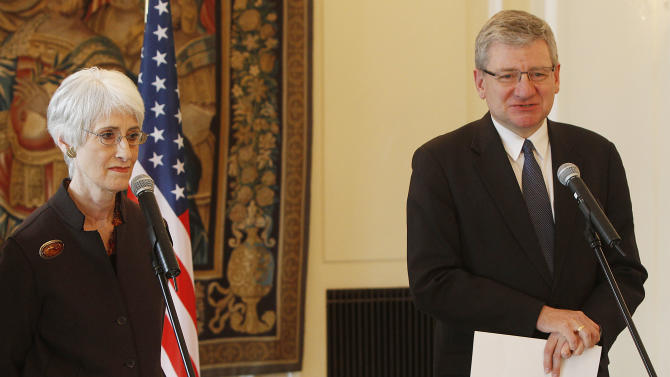 Wendy Sherman, left, U.S. Undersecretary of State for Political Affairs, and Boguslaw Winid, Polish undersecretary of State for Security Policy, attend at a news conference in Warsaw, Poland, Monday, March 18, 2013. Sherman and other U.S. officials are trying to reassure Poland that the cancellation of the final stage of a European missile defense system will not sideline the country, and that the decision was not made to appease Russia. (AP Photo/Czarek Sokolowski)