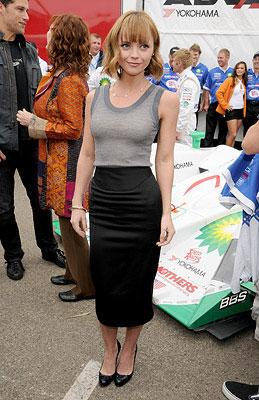Christina Ricci at the Long Beach Grand Prix and Toyota Pro/Celebrity Race for the Speed Racer cast photo shoot