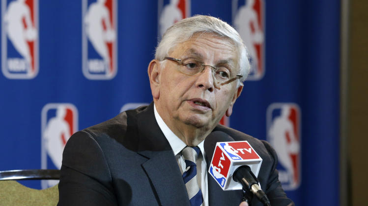 NBA Commissioner David Stern takes a question from a reporter during a news conference following an NBA Board of Governors meeting Wednesday, May 15, 2013, in Dallas. NBA owners voted Wednesday to reject the Sacramento Kings' proposed move to Seattle, the latest in a long line of cities that have tried to land the franchise.   (AP Photo/Tony Gutierrez)