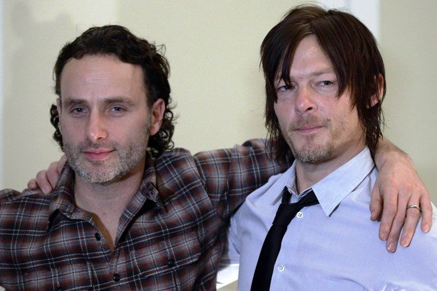 SINGAPORE - JANUARY 13: (L-R) Walking Dead stars, Andrew Lincoln and Norman Reedus attend the press conference at Fairmont Hotel on January 13, 2014 in Singapore. (Photo by Suhaimi Abdullah/Getty Images