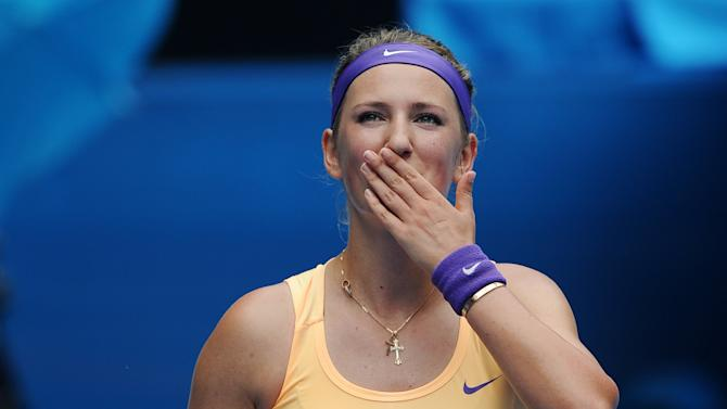 Victoria Azarenka of Belarus blows kisses to the crowd following her win over Greece's Eleni Daniilidou in their second round match at the Australian Open tennis championship in Melbourne, Australia, Thursday, Jan. 17, 2013. (AP Photo/Andrew Brownbill)