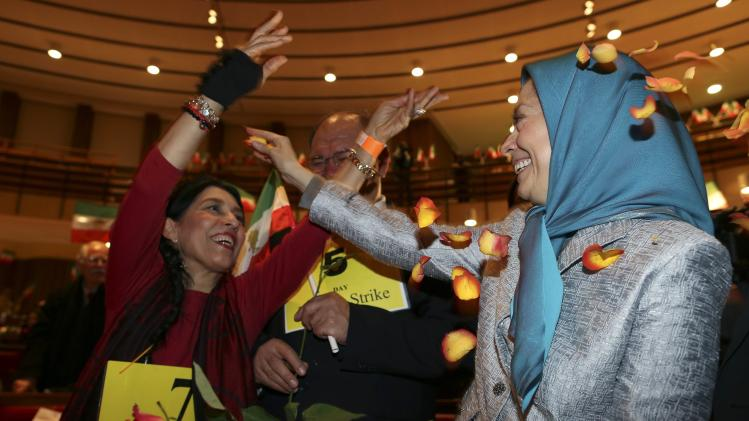 President-elect of the National Council of Resistance of Iran Rajavi reacts during a meeting in Rome
