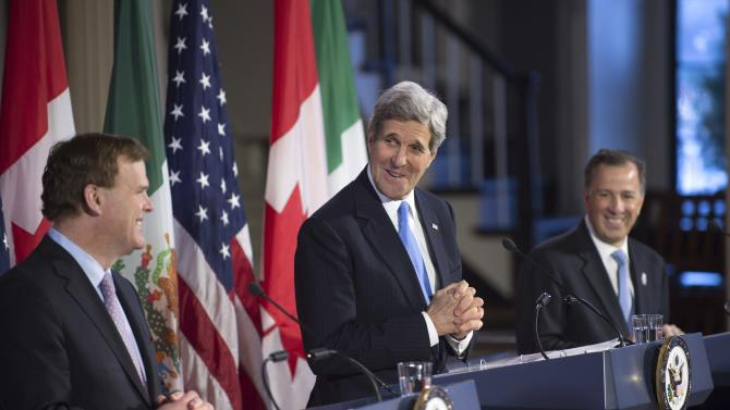 U.S. Secretary of State Kerry appears at a joint news conference with Canadian Foreign Minister Baird and Mexican Foreign Secretary Meade in Boston