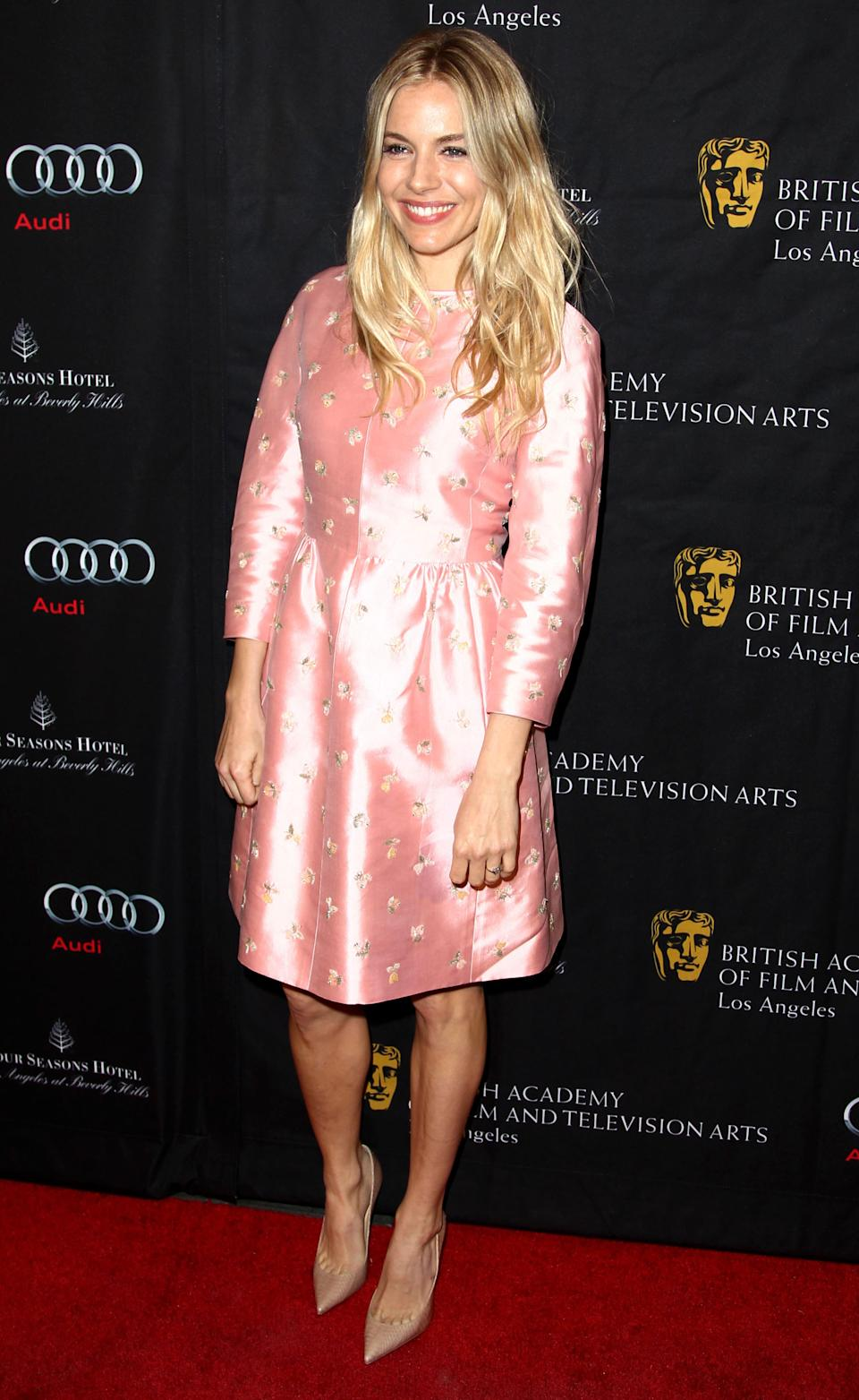Actress Sienna Miller arrives at the BAFTA Awards Season Tea Party at The Four Seasons Hotel on Saturday, Jan. 12, 2013, in Los Angeles. (Photo by Matt Sayles/Invision/AP)