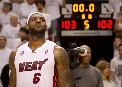 Miami Heat forward LeBron James (6) scored in the last seconds of overtime to defeat the Indiana Pacers in Miami on Tuesday May 22, 2013