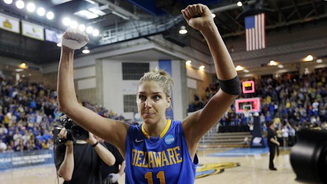 Delaware guard/forward Elena Delle Donne acknowledges fans as she walks off the court after winning a second-round game against North Carolina in the women's NCAA college basketball tournament in Newark, Del., Tuesday, March 26, 2013. Delle Donne contributed a game-high 33 points to Delaware's win. (AP Photo/Patrick Semansky)
