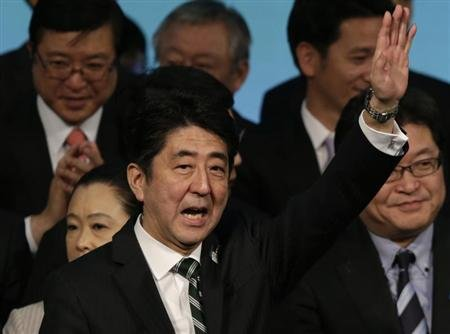 Japan's PM Abe waves during the ruling LDP annual convention in Tokyo