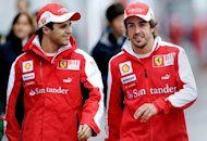 Ferrari drivers Felipe Massa of Brazil (L) and Fernando Alonso of Spain, pictured in 2010. Alonso and Massa have limited expectations from this weekend&#39;s Chinese Grand Prix in Shanghai