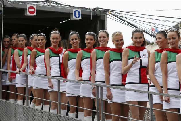 Pit girls line up during the qualifying session of the Monaco F1 Grand Prix