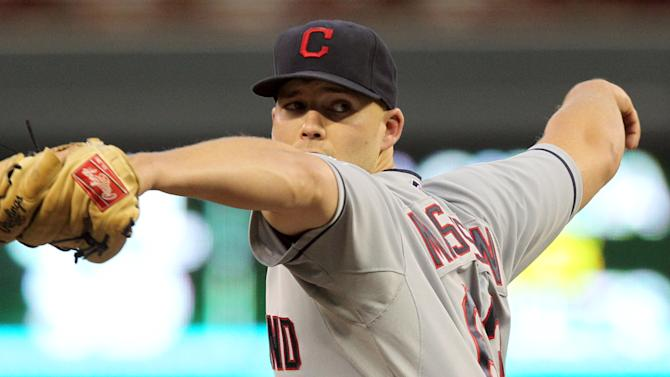 Cleveland Indians starting pitcher Justin Masterson (63) throws against the Minnesota Twins during the first inning of a baseball game, Monday, Sept. 10, 2012, in Minneapolis. (AP Photo/Genevieve Ross)