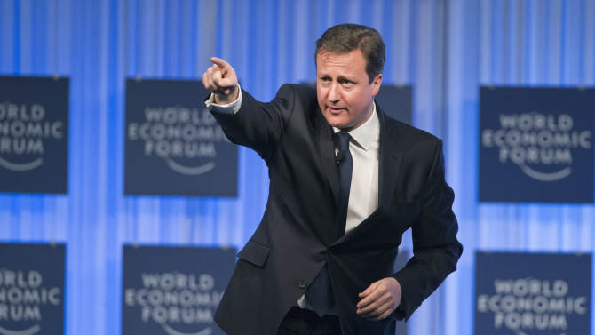 British Prime Minister, David Cameron, gestures as he speaks to the assembly of the 43rd Annual Meeting of the World Economic Forum, WEF, in Davos, Switzerland, Thursday, Jan. 24, 2013. (AP Photo/Michel Euler)