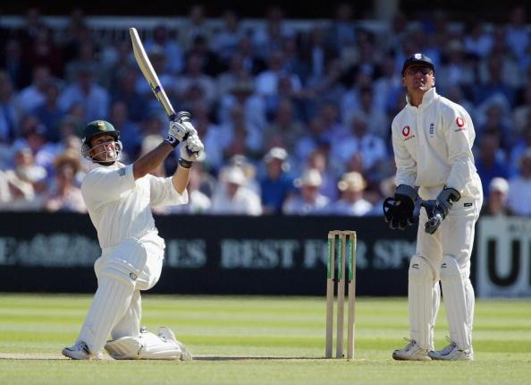 LONDON - AUGUST 2:  Mark Boucher of South Africa hits the ball for six during the third day of the second Npower Test Match between England and South Africa on August 2, 2003 at Lords Cricket Ground i