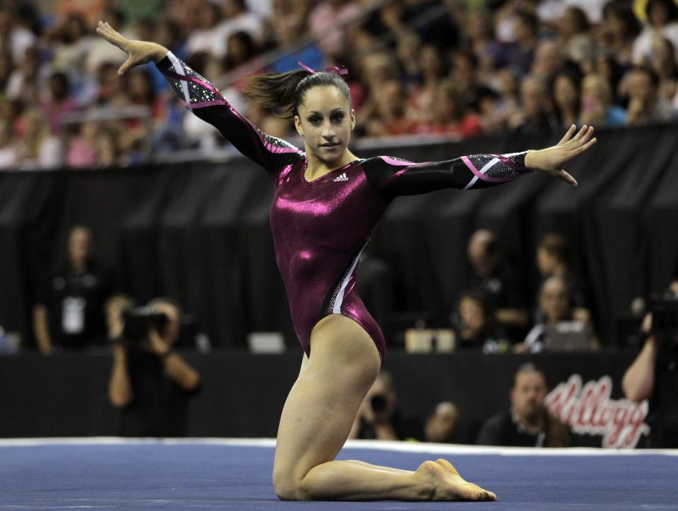 Jordyn Wieber competes in floor exercise during the women's senior division at the U.S. gymnastics championships on Sunday, June 10, 2012, in St. Louis. Wieber took first place overall in the competition. (AP Photo/Jeff Roberson)