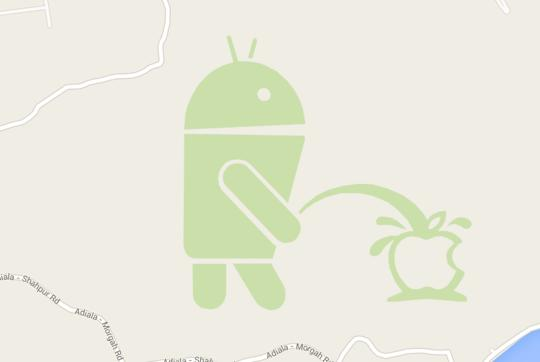 There's an Android Robot Urinating on the Apple Logo in Google Maps