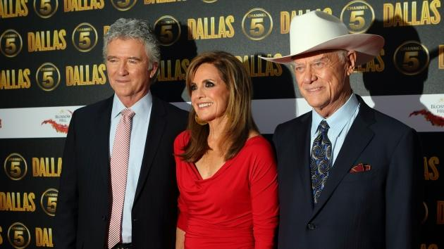 Patrick Duffy, Linda Grey and Larry Hagman attend a party to celebrate the new Channel 5 television series of 'Dallas', at Old Billingsgate, London, on August 21, 2012 -- Getty Images