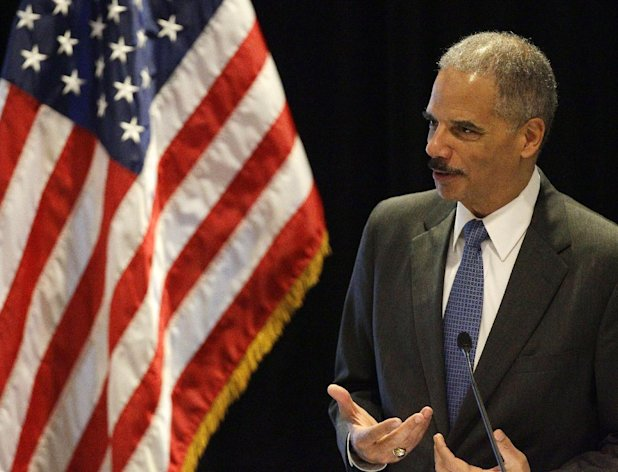 In this photo taken Tuesday, June 26, 2012, Attorney General Eric Holder speaks in Boston. With a vote looming to hold Holder in contempt of Congress, a House committee chairman is challenging President Barack Obamas claim of executive privilege, invoked to maintain secrecy for some documents related to a failed gun-tracking operation. (AP Photo/Stephan Savoia)