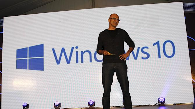 Nadella addresses delegates during the launch of the Windows 10 operating system in Kenya's capital Nairobi