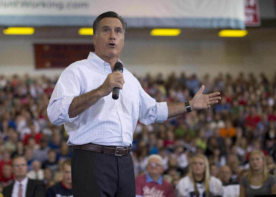Republican presidential candidate, former Massachusetts Gov. Mitt Romney speaks during a campaign rally, Friday, Sept. 7, 2012, in Orange City, Iowa.  (AP Photo/Evan Vucci)