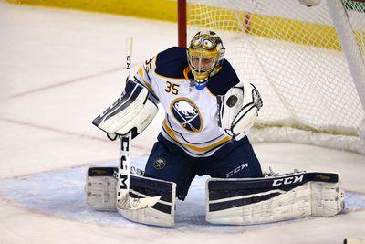 Sabres goalie remained completely frozen as this crazy deflection flew right over him