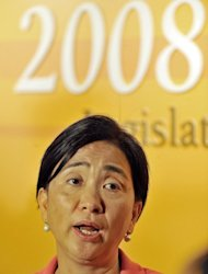 Pro-democracy Hong Kong lawmaker Emily Lau, pictured in Hong Kong, on September 8, 2008. Lau says Jackie Chan's appointment at the Chinese People's Political Consultative Conference shows that Beijing is not prepared to take Hong Kong's concerns seriously
