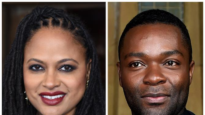 """""""Selma"""" director Ava DuVernay (L) and lead actor David Oyelowo at the AFI FEST 2014 in Hollywood on November 11, 2014"""