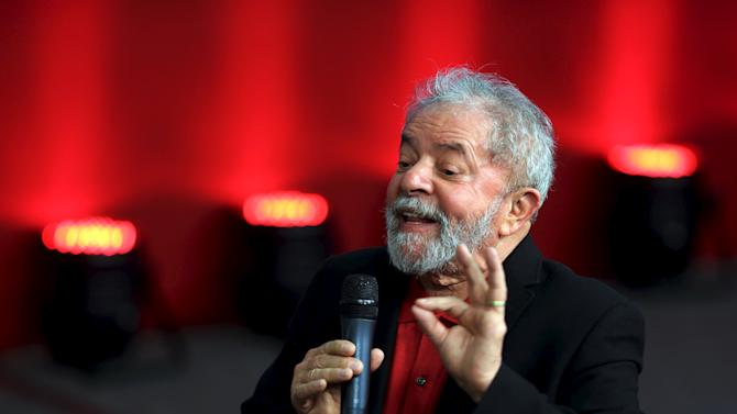 Former Brazilian President Luiz Inacio Lula da Silva gestures as he attends the launch of the  Memorial of Democracy, in Sao Bernardo do Campo