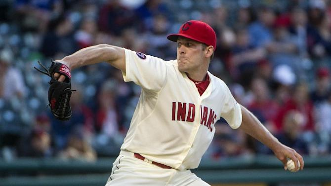 Cleveland Indians' relief pitcher Nick Hagadone delivers against the Toronto Blue Jays during a baseball game, in Cleveland, Saturday, May 2, 2015. (AP Photo/Phil Long)