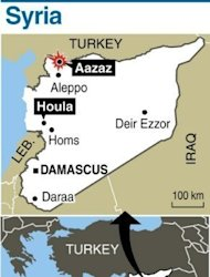 Map of Syria locating Houla and Aazaz. President Bashar al-Assad made a rare public appearance for the Muslim holiday of Eid on Sunday as activists staged protests across Syria to rage against the regime