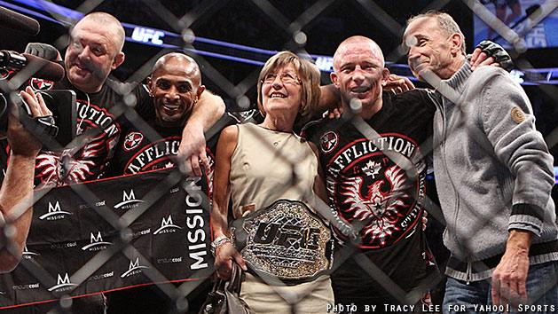 Georges St-Pierre celebrates after beating Carlos Condit at UFC 154. (Courtesy Tracy Lee for Y! Sports)