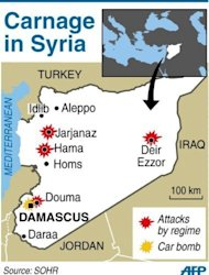 A map showing attacks by Syrian forces and car bomb in Damascus. A handful of UN observers have toured Syria as another 17 people died