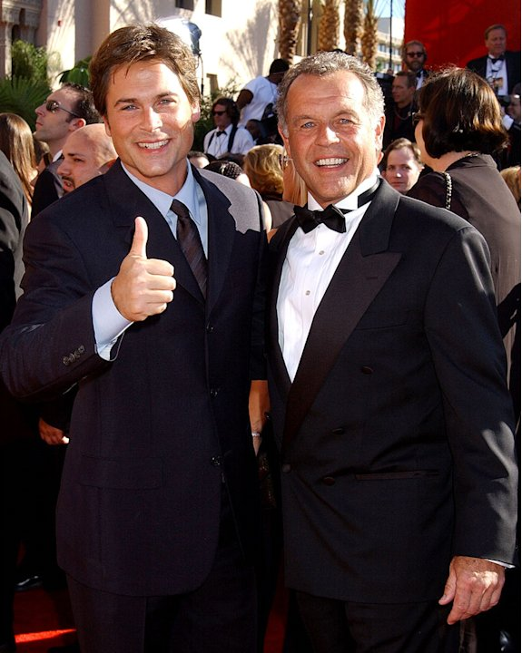 Rob Lowe and father at The 54th Annual Primetime Emmy Awards.