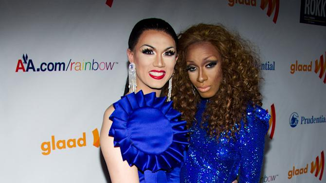 """FILE - In this March 19, 2011, file photo, Manila Luzon and Antoine Ashley, known as, Sahara Davenport arrive to the 22nd Annual GLAAD Media Awards in New York. The Logo TV channel says that Antoine Ashley, a contestant who competed on """"RuPaul's Drag Race"""" as Sahara Davenport, has died. Ashley was 27. A channel spokesman says the cause of Ashley's death Monday, Oct. 1, 2012, was not immediately released.(AP Photo/Charles Sykes, File)"""
