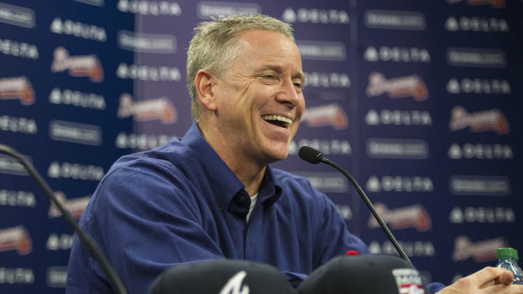 ADVANCE FOR WEEKEND EDITIONS, JULY 26-27 - FILE - In this Jan. 8, 2014 file photo, former Atlanta Braves pitcher Tom Glavine speaks with members of the media during a news conference at Turner Field after being elected to the baseball's Hall of Fame, in Atlanta. Glavine will be inducted into the Hall of Fame in Cooperstown, N.Y., on Sunday, July 27, 2014. (AP Photo/John Amis, File)