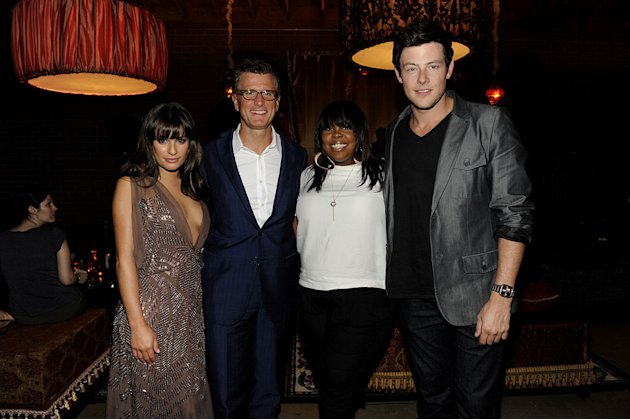 "Lea Michele, Amber Riley, and Cory Monteith of ""Glee"" with Kevin Reilly (President of Entertainment, Fox) at the 2011 Fox Fall Eco-Casino Party at The BookBindery on September 12, 2011 in Culver City,"