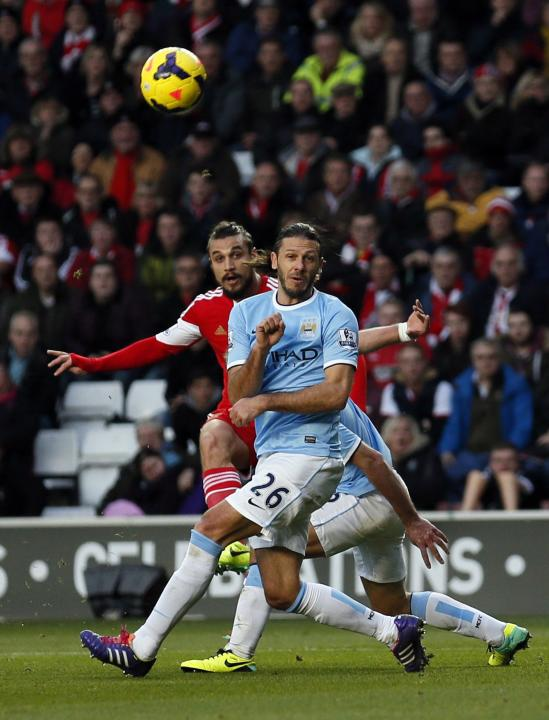 Southampton's Osvaldo scores a goal during their English Premier League soccer match against Manchester City at St Mary's stadium in Southampton
