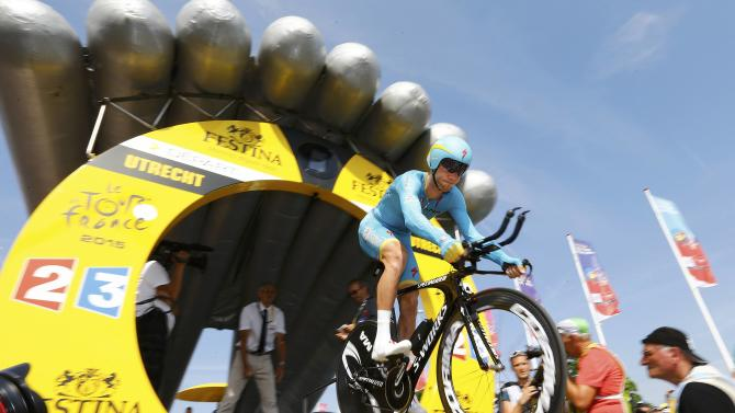 Astana rider Lars Boom of the Netherlands cycles during the individual time-trial first stage of the 102nd Tour de France cycling race in Utrecht