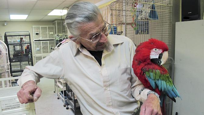 In this Nov. 4, 2013 photo, Stephen Lazicki holds Santina, a 14-year-old macaw, at Lazicki's Bird House and Rescue in South Kingstown, R.I. Lazicki must find a new location for the shelter by Dec. 30 because the current building is destined to be torn down. (AP Photo/David Klepper)