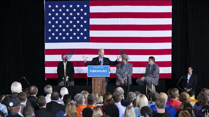 Vice President Joe Biden speaks in Council Bluffs, Iowa, Thursday, Oct. 4, 2012. (AP Photo/Nati Harnik)