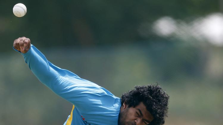 Sri Lanka's Malinga bowls during a practice session ahead of their final ODI cricket match against Pakistan in Dambulla