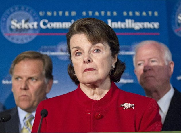 Senate Intelligence Committee Chair Sen. Dianne Feinstein, D-Calif., center, flanked by Sen. Saxby Chambliss, R-Ga., vice-chair of the committee at right, and, House Intelligence Committee Chairman Re