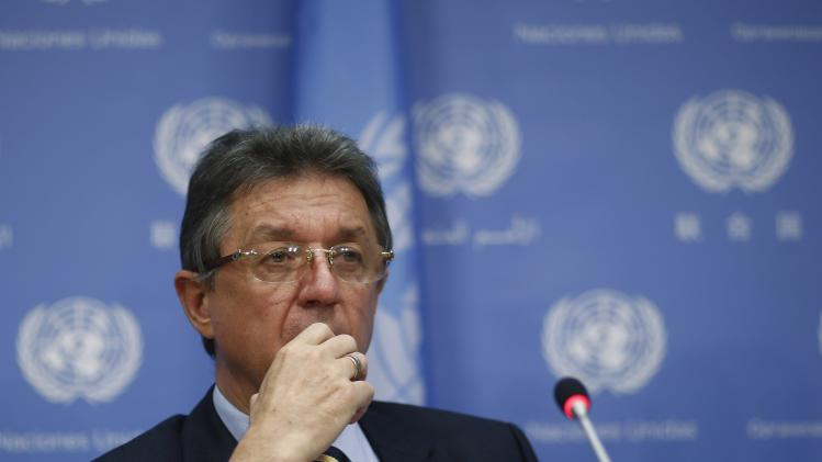 Ukrainian Ambassador to the United Nations Yuriy Sergeyev listens to a question by members of the media during a news conference at the United Nations headquarters in New York