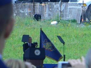 Former President George W. Bush speaks at the Flight 93 National Memorial Dedication.