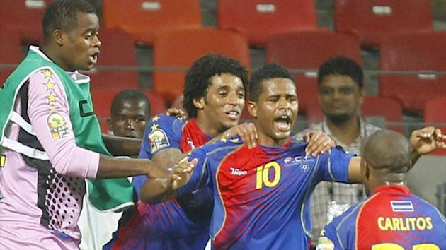 Cape Verde's Heldon (10) celebrates his goal with team mates (Reuters)