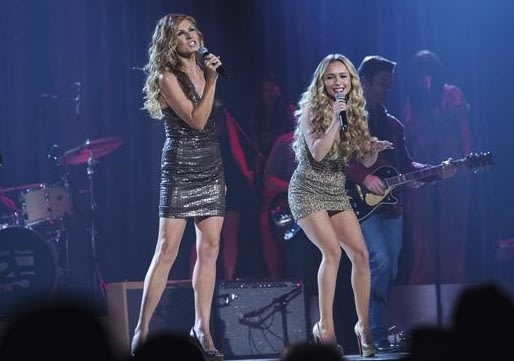"Rayna James (Connie Britton) and Juliette Barnes (Hayden Panettiere) duet on the ""Nashville"" episode ""Lovesick Blues."""