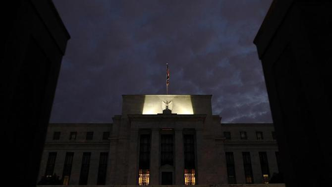 General view of U.S. Federal Reserve building as the morning sky breaks over Washington