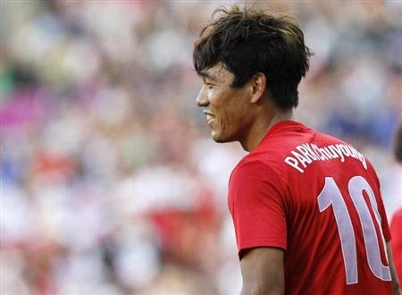 South Korea's Park Chu-young celebrates after scoring against Switzerland during their men's Group B football match in the London 2012 Olympic Games at the City of Coventry stadium