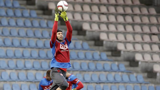 Czech Republic's goalkeeper Cech attends a training session ahead of their Euro 2016 qualification match against Latvia in Riga