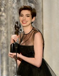 Anne Hathaway accepts the award onstage for Outstanding Performance by a Female Actor in a Supporting Role for 'Les Miserables' during the 19th Annual Screen Actors Guild Awards held at The Shrine Auditorium on January 27, 2013  -- Getty Images