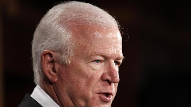 FILE - In this April 21, 2010 file photo, Senate Intelligence Committee Vice Chairman Sen. Saxby Chambliss, R-Ga. speaks on Capitol Hill in Washington. Saxby said Thursday the panel is scheduled to vote early next week on John Brennan's nomination to be director of the CIA.  (AP Photo/Charles Dharapak, File)