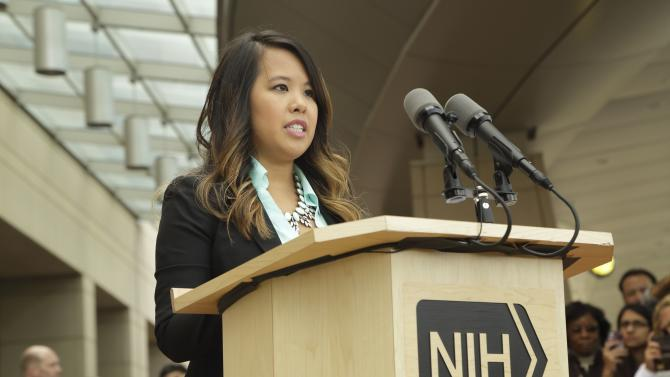 Dallas nurse Nina Pham speaks during a news conference at the National Institutes of Health (NIH) in Bethesda